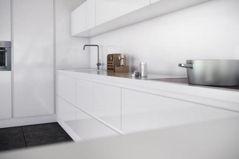 C mo decoramos una cocina peque a muebles amets - Cocina blanca mate ...